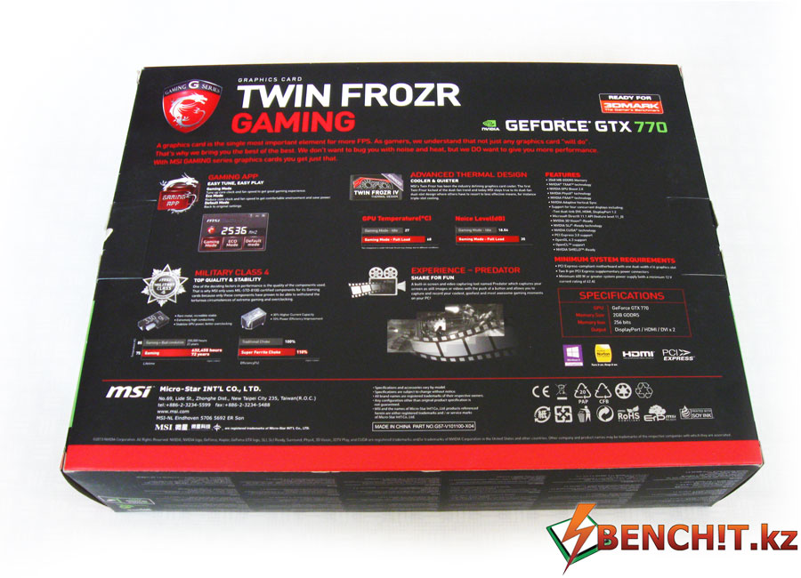 Задняя сторона упаковки MSI GTX 770 Gaming