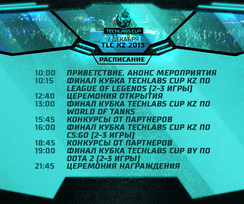 Расписание Techlabs CUP KZ 2013